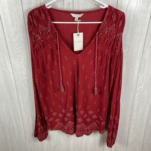 Lucky Brand Hobo Chic Blouse Red Size XL